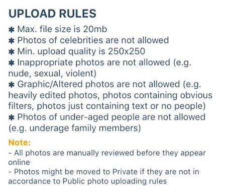 Truly African photo upload rules