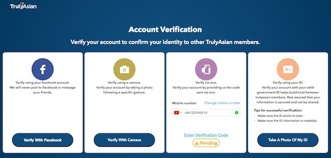 Truly Asian account verification